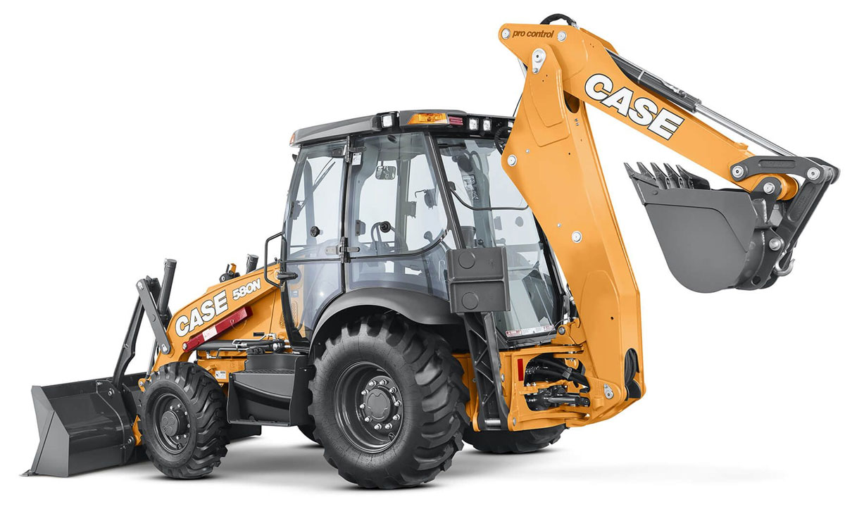 Case 580N EP Backhoe with Cab & Extendahoe